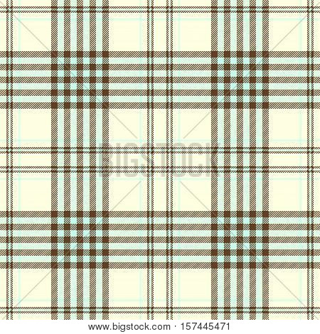 Seamless tartan plaid pattern. Checkered fabric texture print in light aqua green & brown stripes on pale cream yellow background.