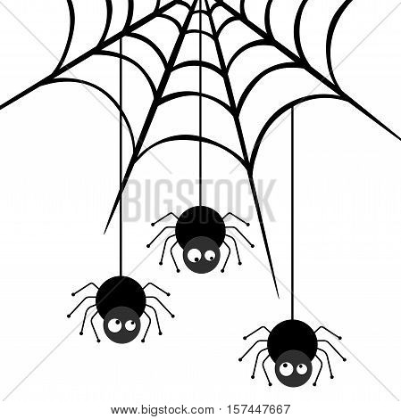 Scalable vectorial image representing a three spiders descending on a web, isolated on white.