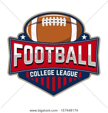 Football college league. Emblem template with football ball. Rugby.  Design element for logo, label, design. Vector illustration.