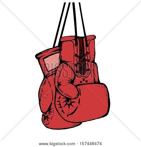 Hand drawn boxing gloves isolated on white background. Design element for poster, emblem, t-shirt print. Vector illustration.