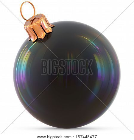 Christmas ball New Year's Eve decoration black shiny bauble wintertime hanging adornment souvenir. Traditional ornament happy winter holidays Happy Merry Xmas symbol blank classic. 3d illustration