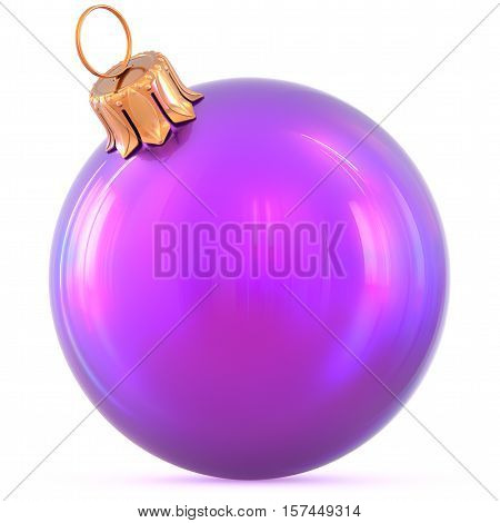 Christmas ball New Year's Eve decoration purple shiny bauble wintertime hanging adornment souvenir. Traditional ornament happy winter holidays Happy Merry Xmas symbol blank classic. 3d illustration