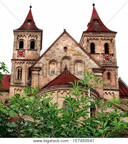 Basilica of Saint Vitus at the market square in Ellwangen, Germany