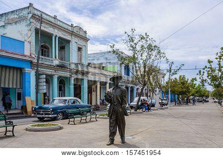 CIENFUEGOS, CUBA - MARCH 22, 2016: Statue of Cuban musican Benny Moreo in the Paseo El Prado in Cienfuegos Cuba