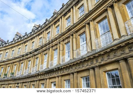 The impressive sweep of Georgian architecture of Royal Crescent in Bath England with its columns and intricate carvings