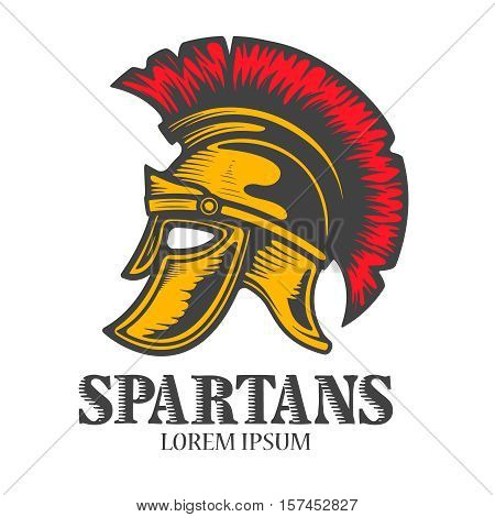 Spartan helmet isolated on white background. Design element for logo, label, emblem, sign, brand mark. Vector illustration.