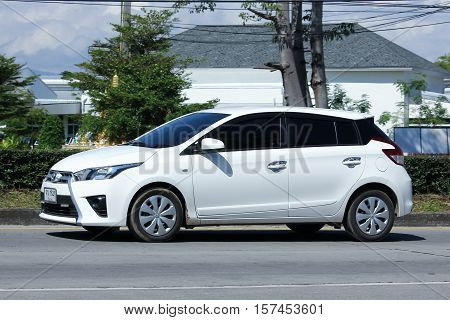 CHIANG MAI THAILAND - OCTOBER 27 2016: Private car toyota Yaris Eco Car. Photo at road no 121 about 8 km from downtown Chiangmai thailand.