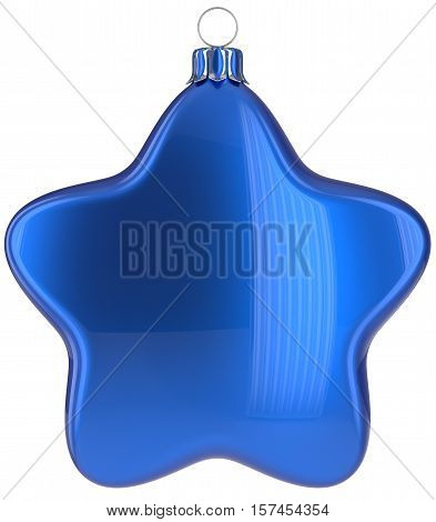 Christmas star hanging decoration blue New Year's Eve bauble ornate Merry Xmas ball. Happy wintertime adornment greeting card design element traditional festive decor ornament blank. 3d illustration