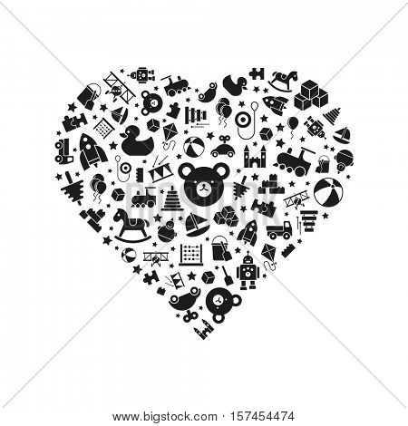Love of toys. Toys for babies, kids, children and toddlers vector icons arranged in heart shape, solid black on white background.