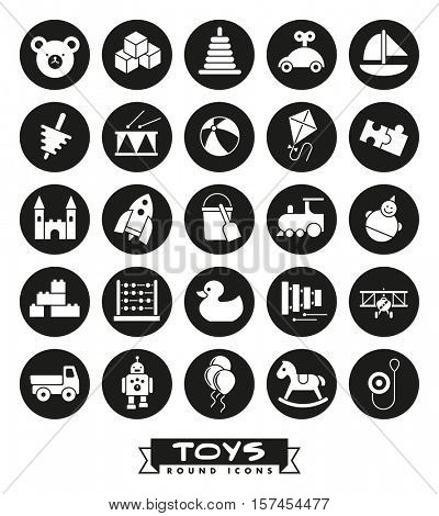 Toys for babies, kids, children and toddlers vector icon set. Collection of round children's toys icons, negative in black circles.