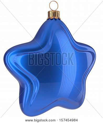 Christmas star shaped Merry Xmas ball blue hanging decoration adornment New Year's Eve bauble. Happy wintertime holidays greeting card design element traditional decor ornament blank. 3d illustration