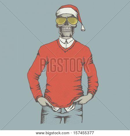 Vector Christmas skull  in skull in sweater illustration. Hand drawn skull. Skull human in sweatshirt