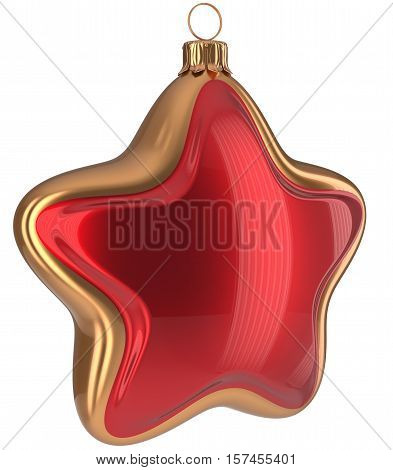 Christmas star shaped Merry Xmas ball red golden hanging decoration adornment New Year's Eve bauble. Happy wintertime holidays greeting card design element traditional ornament blank. 3d illustration