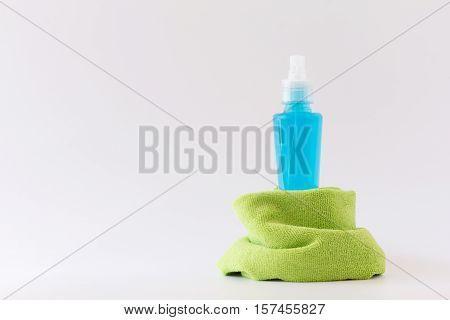 window spray with Microfiber cloth on white background