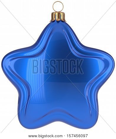 Christmas ball star shaped blue decoration Merry Xmas hanging adornment New Year's Eve bauble. Happy wintertime holidays greeting card design element traditional decor ornament blank. 3d illustration
