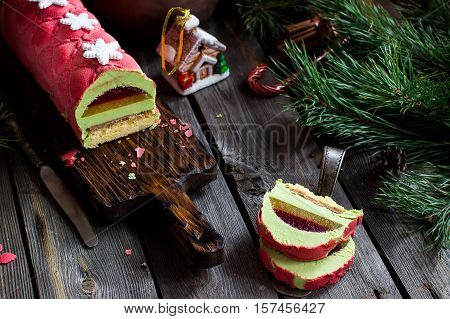 Christmas Cake With Decoration On Wooden Table. Selective Focus.