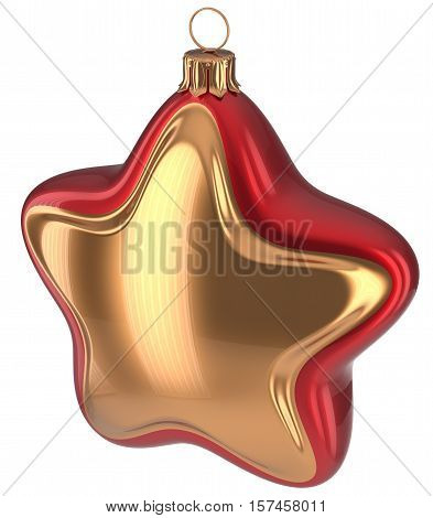 Christmas ball star shaped Merry Xmas golden red hanging decoration adornment New Year's Eve bauble. Happy wintertime holidays greeting card design element traditional ornament blank. 3d illustration