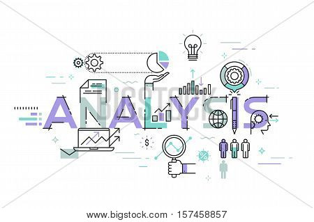 Modern thin line design concept for analysis website banner. Vector illustration concept for business analysis, market research, product testing, data analysis.
