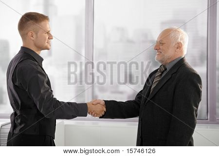 Senior and mid-adult businessman shaking hands standing by office window, smiling.?