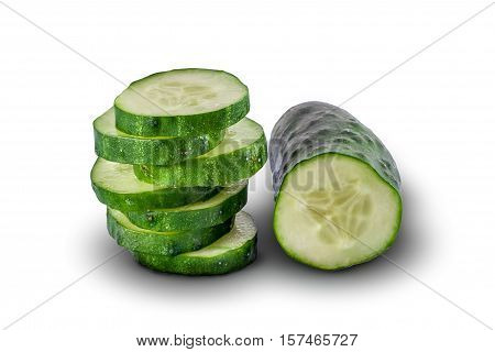 Half of cucumber and slices of cucumber on white background