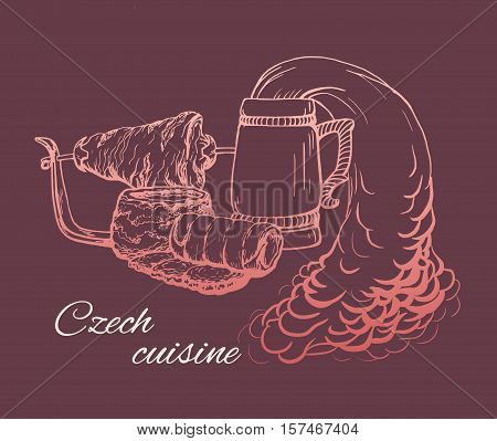 Czech cuisine vintage illustration with traditional dishes. Pork on skewer, beer, soup, doughboy and trdlo. Vector retro illustration