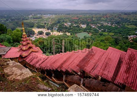Colorful Red Roofs At Staircase To Pindaya Caves, Myanmar
