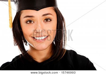 Female graduate wearing a gown and mortarboard - isolated over white