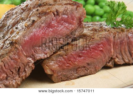 Sirloin beef steak chargrilled to medium rare.