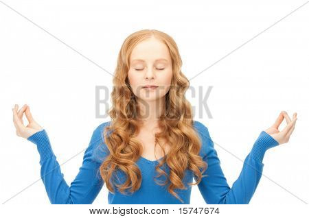 bright picture of woman in meditation over white