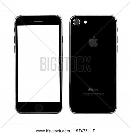 MOSCOW RUSSIA - OCTOBER 22 2016: New black iPhone 7 is a smartphone developed by Apple Inc. Apple releases the new iPhone 7 and iPhone 7 Plus