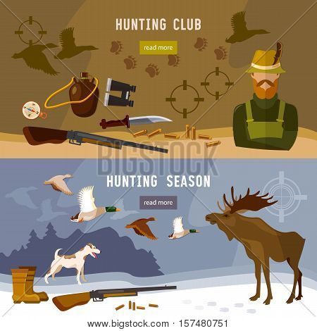 Hunting banners hunter with rifle and dog in forest hunting for moose ammunition hunting knife vector illustration