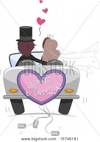 Illustration of a Newlywed Couple Driving Away