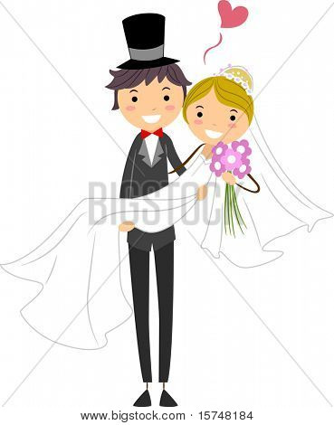 Illustration of a Groom Carrying His Bride
