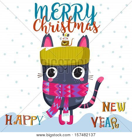 Merry Christmas And Happy New Year Card With Cute Cat - Stock Vector