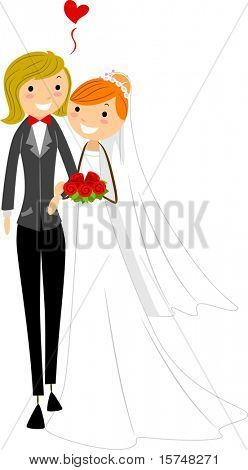Illustration of a Lesbian Couple Dressed in Wedding Attire