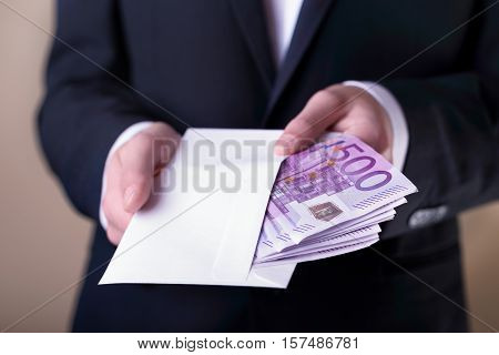 Bribe And Corruption With Euro Banknotes.
