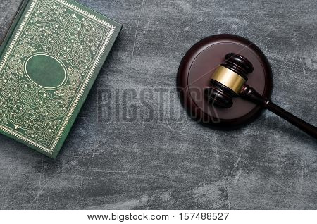Gavel And Book Top View