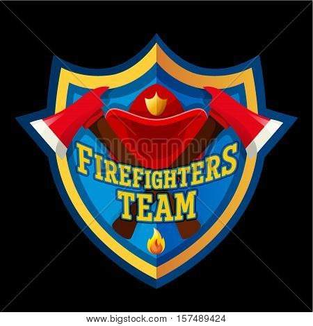 Firefighters team - Firefighter emblem label badge and logo isolated on dark background.