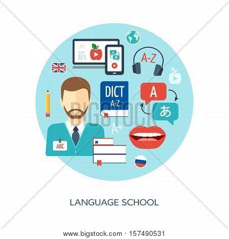 Foreign language learning concept. Banner background poster concept. Foreign language school and courses. Flat design. Vector illustration