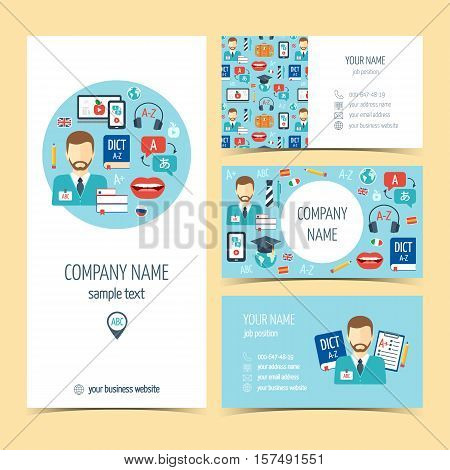 Flyer brochure and business cards for foreign language learning. Set of promotional products. Flat design. Vector illustration