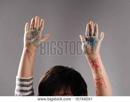 Chaotisch Hände Hände wenig schuldig Kapitulation mit bis