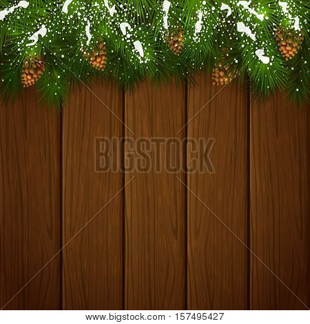 Winter theme, Christmas decorations with pinecone, decorative spruce branches with pine cones and snow on a wooden background, illustration.