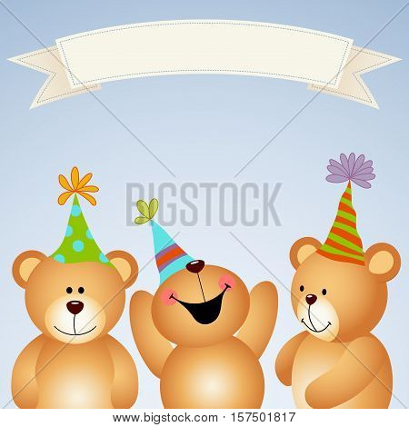 Scalable vectorial image representing a background banner teddy bears happy party.