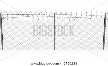 Chainlink Fence With Barbed Wire On Top, Front View