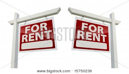 Left and Right Facing For Rent Real Estate Signs Isolated on a White Background with Clipping Path.