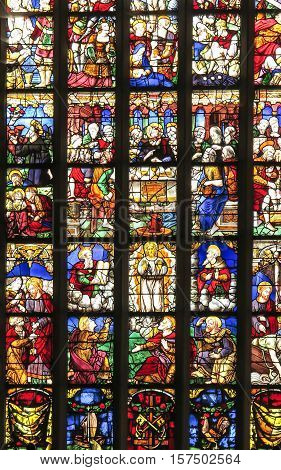 Iffendic France - September 9 2016: Stained glass window in the Church of Saint Eloi in Iffendic France. Place adoption by St Louis Marie de Montfort First Holy Communion.