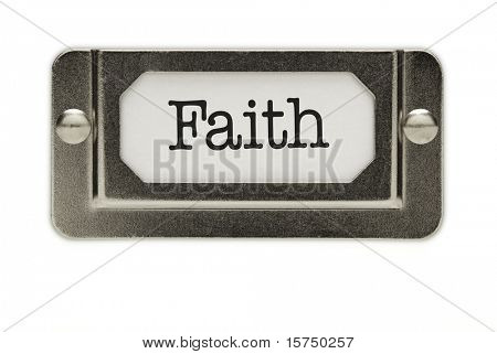 Faith File Drawer Label Isolated on a White Background.