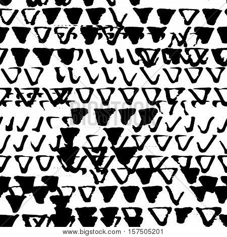 Old seamless pattern of grunge background texture with destroyed stamp triangles. Monochrome vector illustration. Black and white dirty template.
