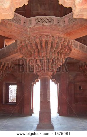 Pillar With Fine Detailled Sculptures, Fatehpur Sikri Fortress, Agra, India