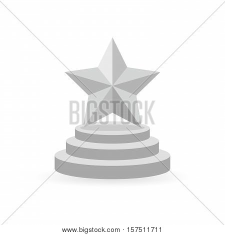 Star award on the round trophy. Gray reward icon isolated on white background. Star reward in flat design. Vector illustration. Concept of success or victory.